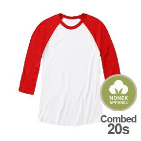 Nonek Apparel 20s – Raglan 3/4 Putih-Merah
